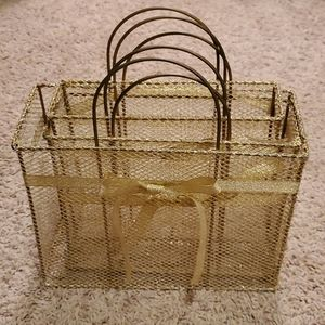 Gold trio of metal gift baskets
